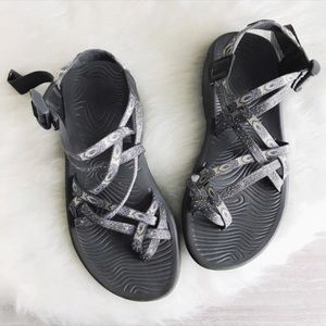 light peach and gray double strap chacos